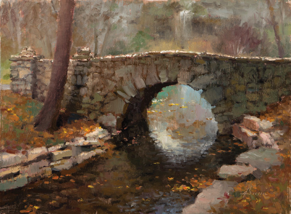 Jason Sacran, Great Spirit Bridge, oil, 12 x 16.