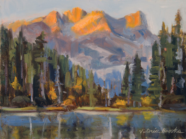 Victoria Brooks, Alpenglow, oil, 9 x 12.