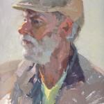 Camille Przewodek, Cap 'n Beard, oil, 12 x 9.