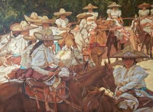 Gladys Roldan-de-Moras, Fiesta Charra in San Antonio, oil, 48 x 36.