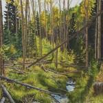Jonathan Keeton, North Fork Tesuque Creek, watercolor, 22 x 30.