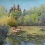 Gretha Lindwood, Sun Splashed Rocks, pastel, 12 x 16.