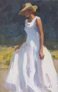 Camille Przewodek, Long White Dress, oil, 12 x 8.