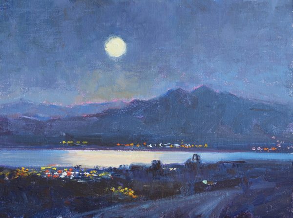 Susan McCullough, Early Morning Moon, oil, 9 x 12.