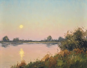 Stacey Peterson, July Moonrise, oil, 11 x 14.