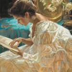 Gladys Roldan-de-Moras, The Good Book, oil, 24 x 30.