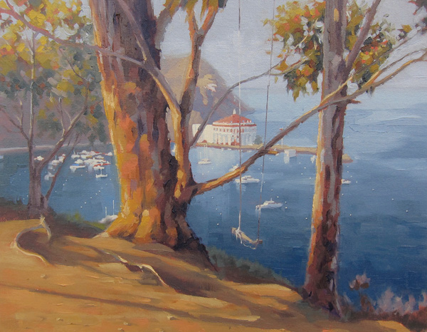 John White, Swing Over Avalon, oil, 12 x 16.
