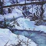 Sascha Ripps, Winter Stream, oil, 36 x 24.