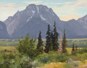 Carol Swinney, Afternoon on Mount Moran, oil, 11 x 14.