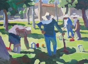 Peggi Kroll-Roberts, Croquet Sunday, oil, 9 x 12.