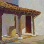 Jennifer Moses, El Presidio, Santa Barbara, oil, 10 x 10.