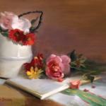 Elizabeth Brandon, The Pink Rose, oil, 9 x 12.