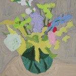 Peggi Kroll-Roberts, Floral in green vase, oil, 16 x 16.