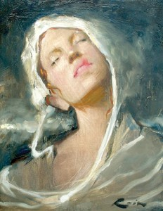 Osiris Rain, Girl in a White Hat, oil, 14 x 11.