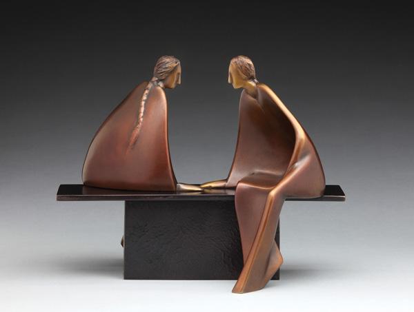 Carol Gold, Family Stories, bronze, 8 x 11 x 3.