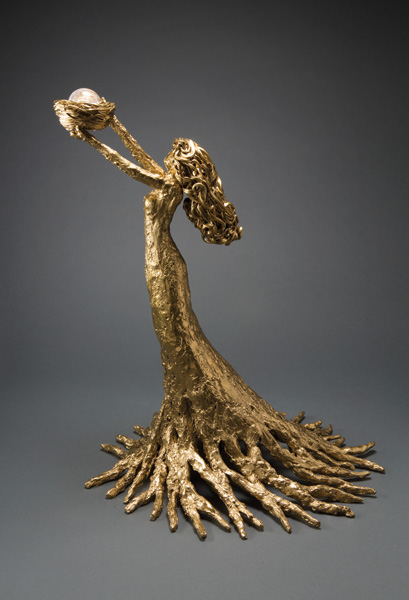 Heidi Kujat, Cherish, bronze, 21 x 18 x 18.