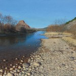 Stan Metzger, Looking North on the Rio Chama, acrylic, 24 x 32.
