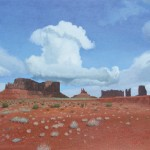 Stan Metzger, Low Cloud Over Brighams Tomb, acrylic, 27 x 48.
