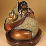 Kim Seyesnem Obrzut, Gathering Cloth, bronze, 15 x 14 x 13.