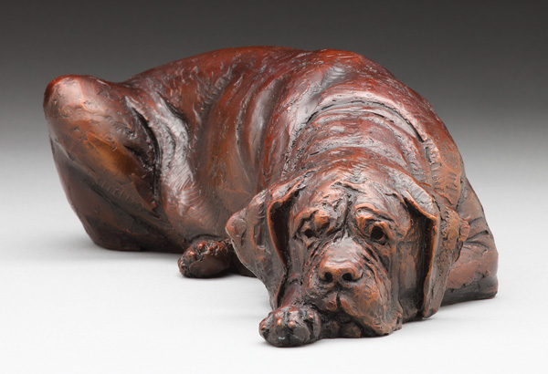 Louise Peterson, Deep Thoughts, bronze, 4 x 4 x 10.
