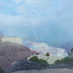 Stan Metzger, Snow Clouds Breaking up over Moran Point, acrylic, 36 x 64.