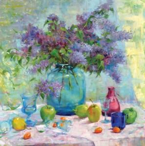 Kristan Le, Lilacs, oil, 30 x 30.