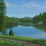Stan Metzger, The Re-emerging Yellowstone, acrylic, 15 x 26.