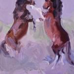 Karen McLain, Dust Up, oil, 10 x 8.