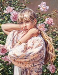 Terri Kelly Moyers, Summer Rose, oil, 30 x 24.