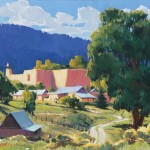 William Hook, Village A.M., oil, 18 x 24.