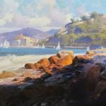 Calvin Liang, Catalina Island, oil, 28 x 60.