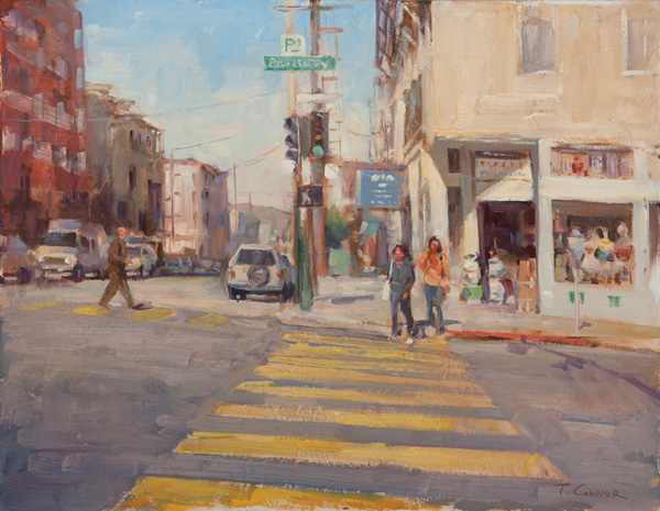 Todd Connor, Pedestrian Crosswalk, oil, 14 x 18.