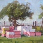 Randall Sexton, Bee City, oil, 14 x 18.