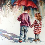 Bev Jozwiak, Skinny Jeans & Big Brothers, watercolor, 22 x 21. Estimate: $900.