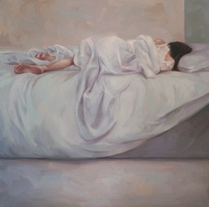 Young-Ji Cha, Afternoon Nap, oil, 24 x 24.