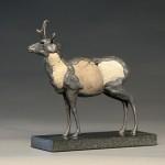 Pete Zaluzec, Pronghorn, riverstone/bronze, 8 x 10 x 4.