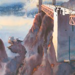 North Anchorage, Golden Gate Bridge, watercolor, 28 x 14.