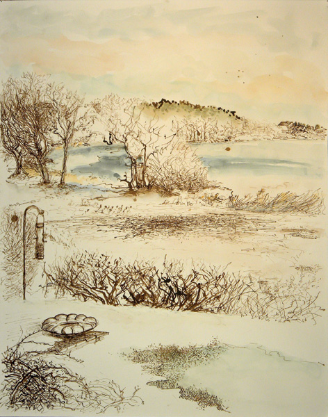 Christy Bergland, Early Winter, Eastern Quadrant, Great Pond, ink/watercolor, 24 x 18.