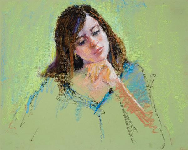Connie Chadwell, Pensive Lexie, pastel, 16 x 20.