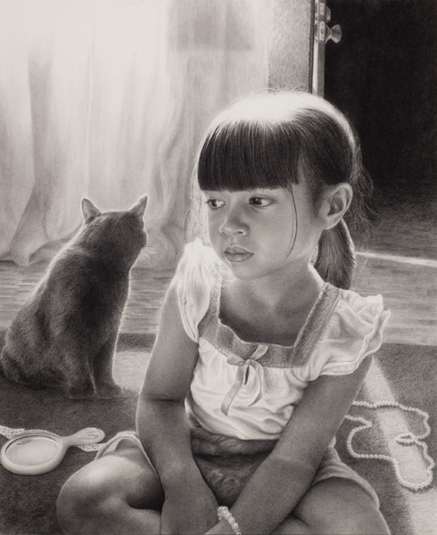 Dina Martin, That Saturday Morning, graphite, 24 x 20.