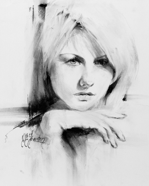 Doug Swinton, Brandi, charcoal, 13 x 11.