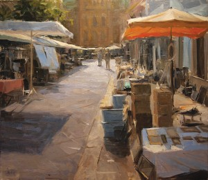 Derek Penix, Antique Market in France, oil, 20 x 24.