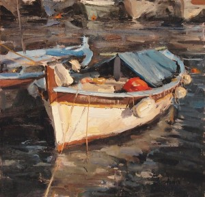 Derek Penix, French Fishing Boat, oil, 12 x 12.