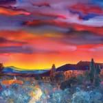 Evelyne Boren, Red Sky NM, watercolor, 30 x 42.