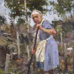 Matteo Caloiaro, Nonna's Garden, oil, 24 x 30.