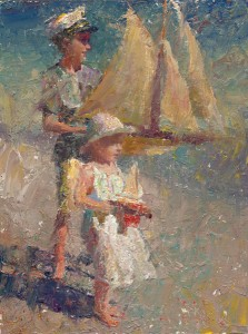 Two Children With Pond Yachts by C.W. Mundy, a WWTM instructor. The painting is part of the Great American Figurative Show.