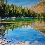 Michelle Courier, Avalanche Lake, Glacier National Park, acrylic, 48 x 72.