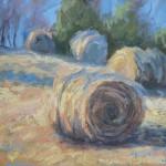 Robin Caspari, Field of Bales, oil, 11 x 14.