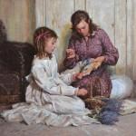 Albin Veselka, Embroidery and Lavender, oil, 24 x 24.