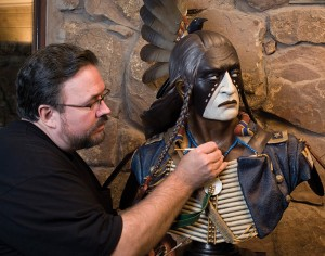 Dave McGary working on Native American sculpture.